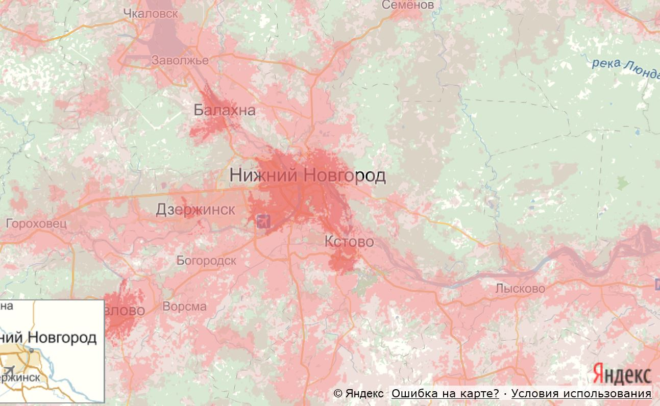MTS map coverage of the Nizhny Novgorod region
