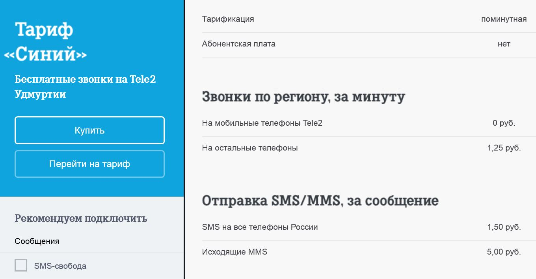 Tele2 tariff blue