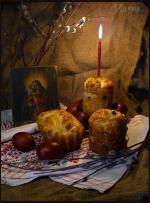 Picture postcard mms На Холсте, Икона, Пасхальный Кулич, Вербы, Яйца, Красивое горение Свечи happy birthday