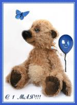 Picture postcard mms Игрушечный медведь отпускающий шарик и стихи — Весна за окнами сияет, посмотри … happy birthday