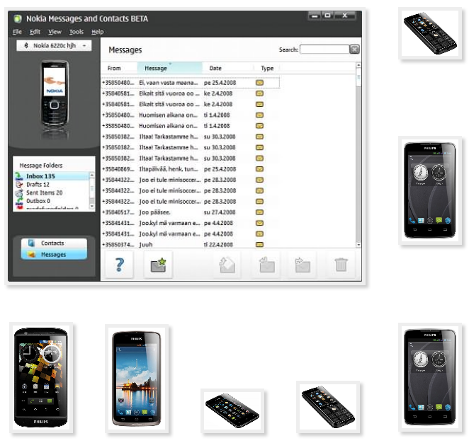 Phone Philips copy to transfer to contacts from soft for PC