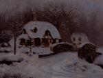 Picture postcard mms в темной ночи, все зажигается: окна, елка, фонари happy birthday