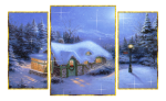Picture postcard mms пано из трех картинок, столб с часами, сельский домик happy birthday