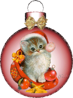 Picture postcard mms в розовом новогодний шаре котенок в шапке деда мороза happy birthday