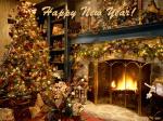 Picture postcard mms уютная комната, стеллаж с вещами, камин, в камине горит огонь happy birthday