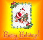 Picture postcard mms Дед Мороз раздает подарки лесным зверям — Happy Holidays! happy birthday