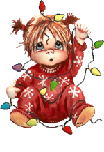Picture postcard mms Маленькая девочка запуталась в мигающей гирлянде, говорит оао happy birthday
