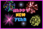 Picture postcard mms в виде дискотеки, разноцветные салюты, искры мишура HAPPY NEW YEAR happy birthday