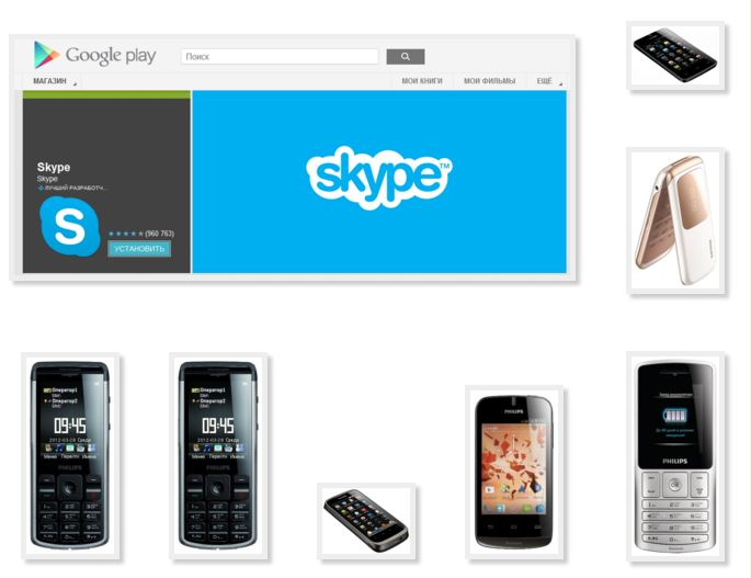 Skype calls mobile phone Philips touch screen Android