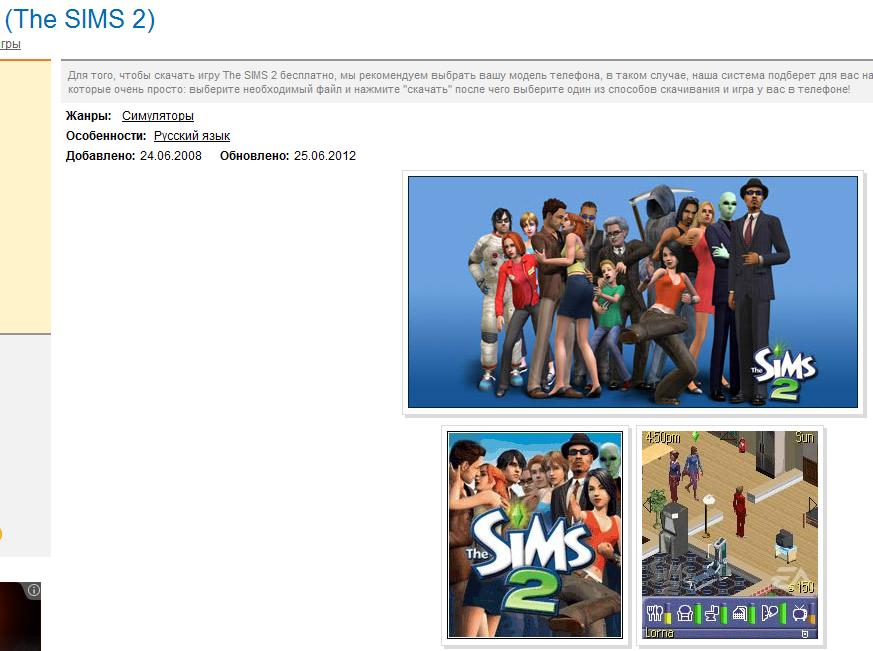 Sims Java phone