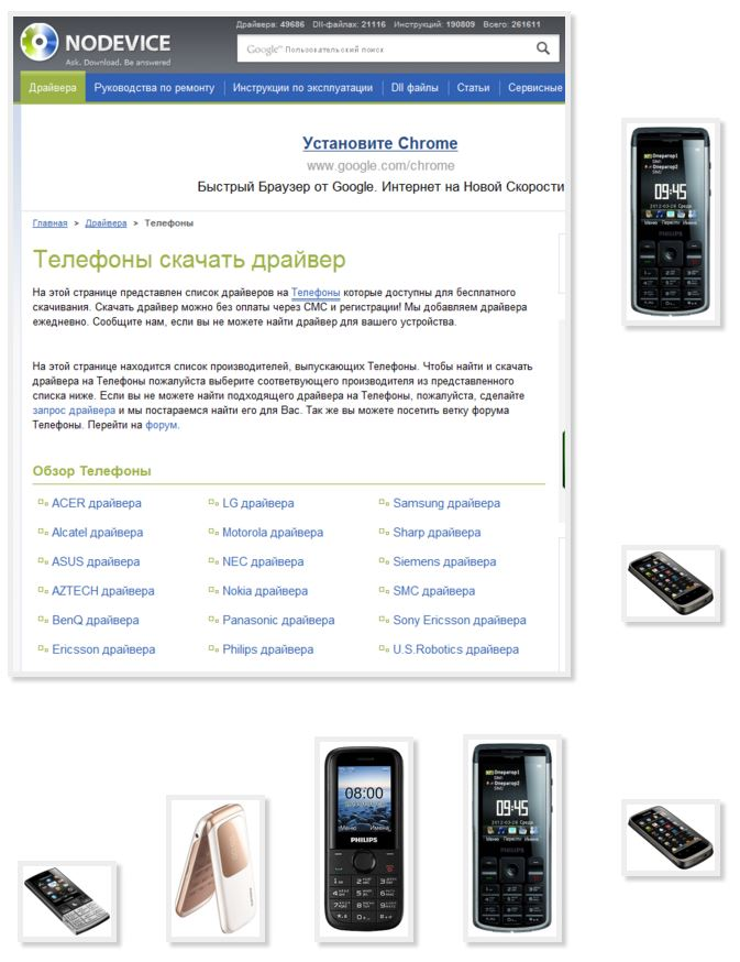 Download free driver different mobile phones Philips with your computer